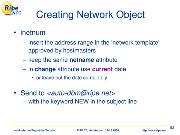 Creating Network Object