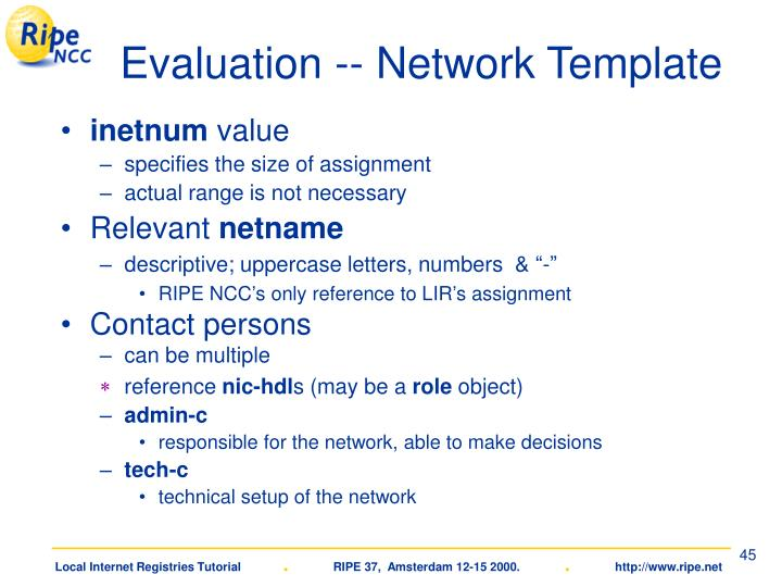 Evaluation -- Network Template