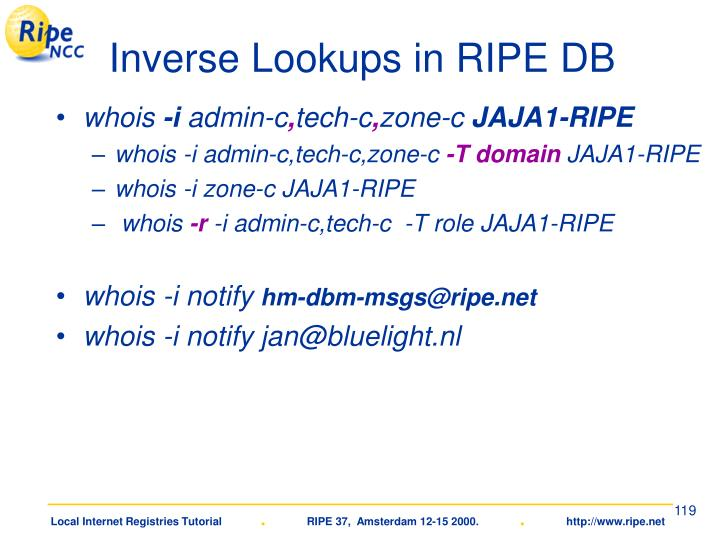 Inverse Lookups in RIPE DB