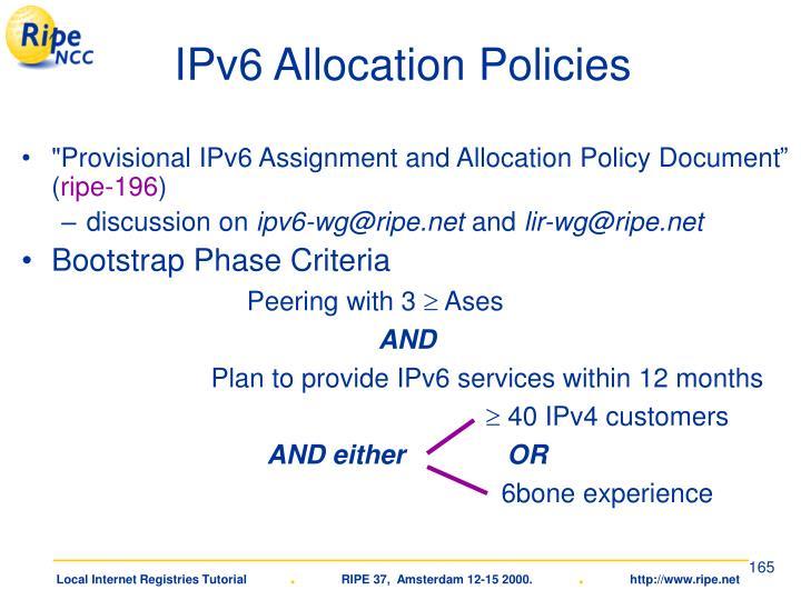 IPv6 Allocation Policies