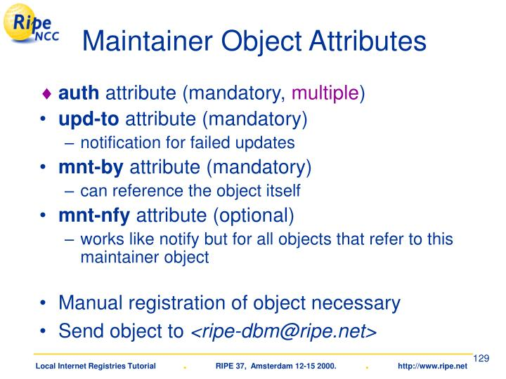 Maintainer Object Attributes