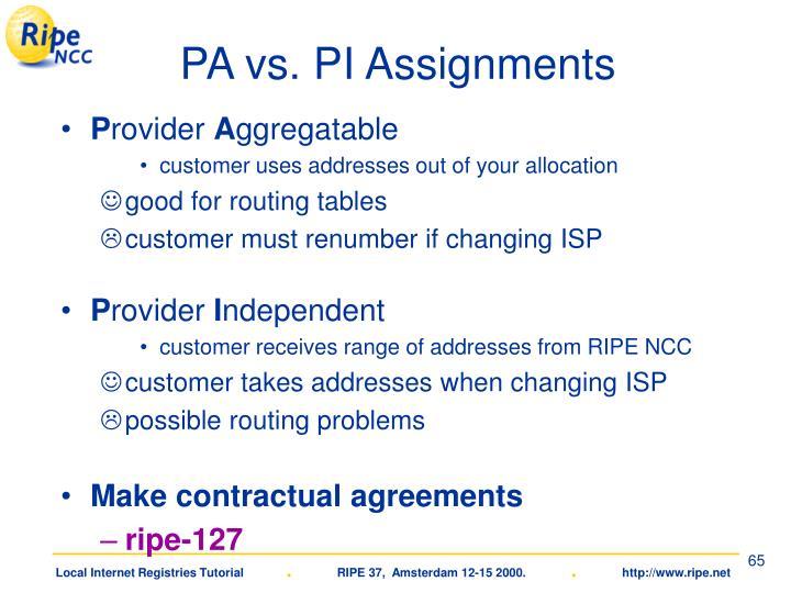 PA vs. PI Assignments