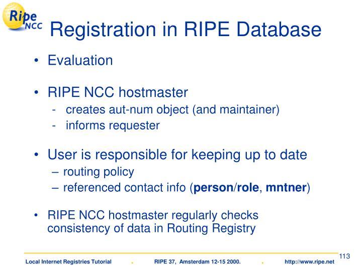 Registration in RIPE Database