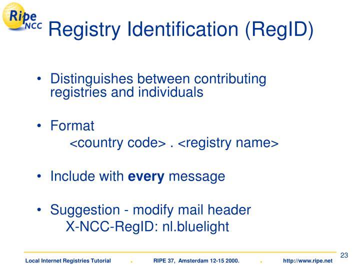 Registry Identification (RegID)