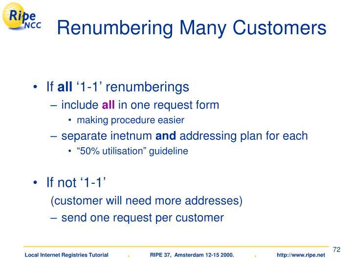 Renumbering Many Customers