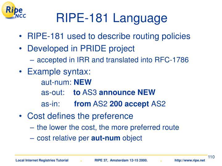RIPE-181 Language