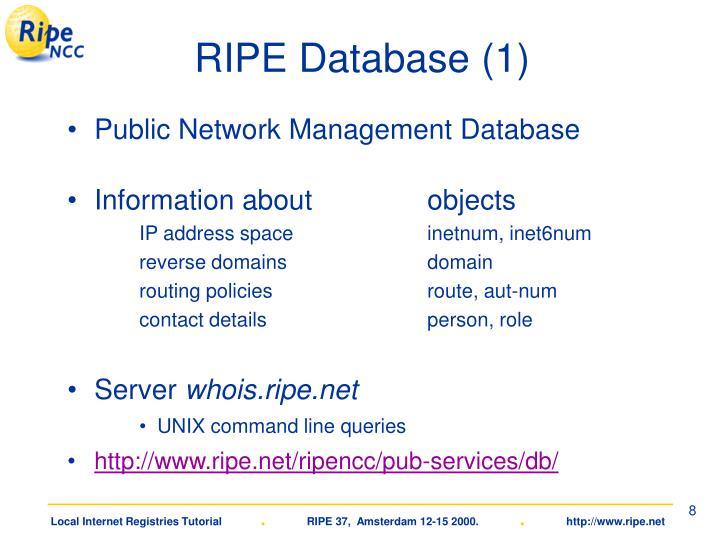 RIPE Database (1)