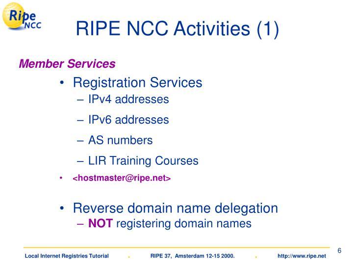 RIPE NCC Activities (1)