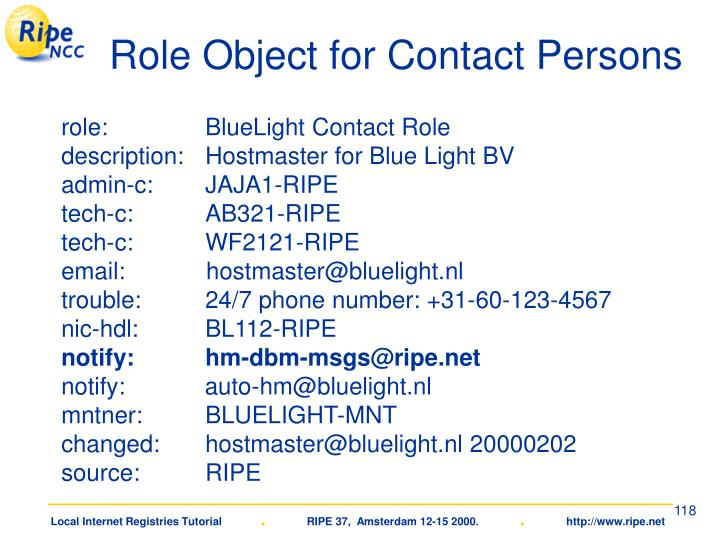 Role Object for Contact Persons