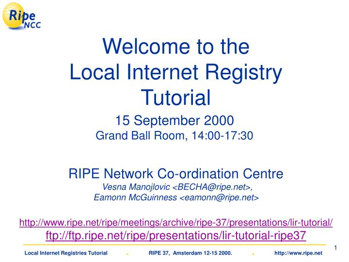 Welcome to the local internet registry tutorial