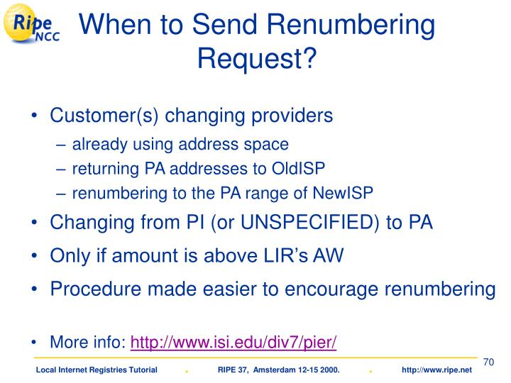 When to Send Renumbering Request?