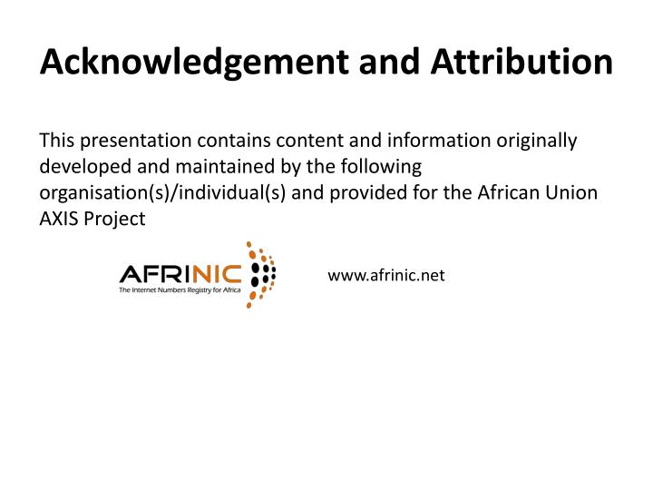 Acknowledgement and Attribution