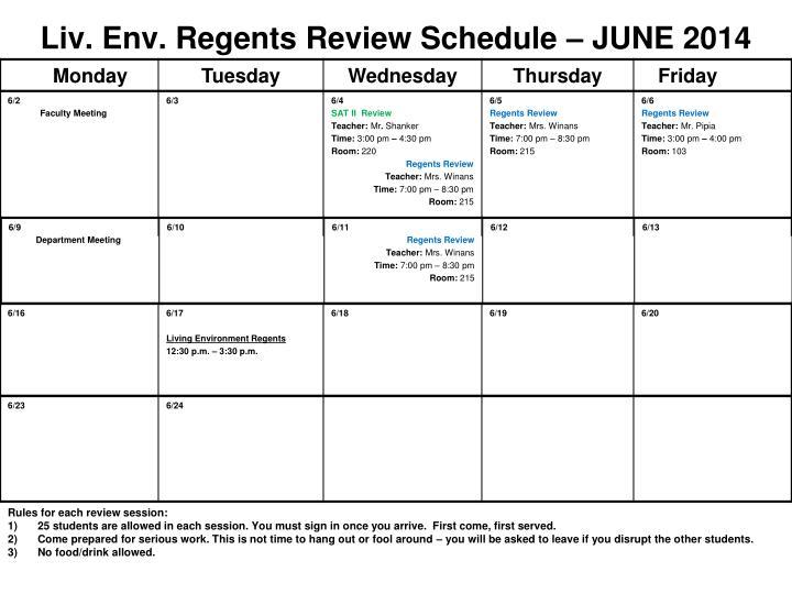 Liv env regents review schedule june 2014