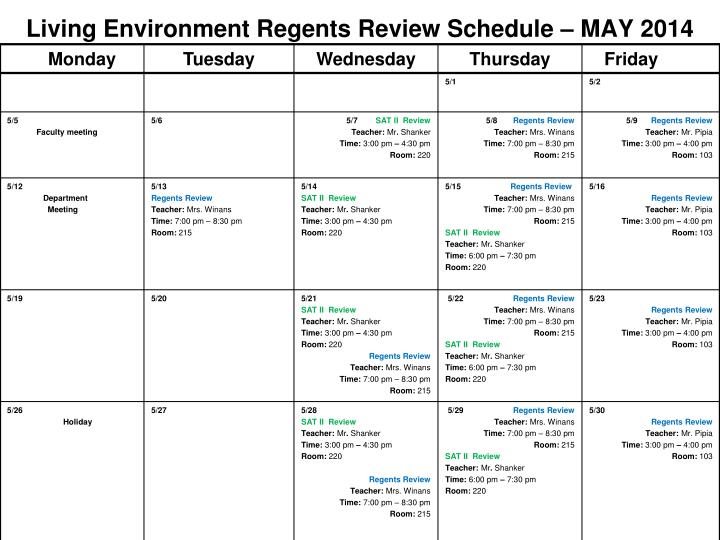 Living environment regents review schedule may 2014