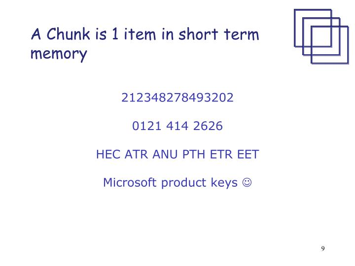 A Chunk is 1 item in short term memory