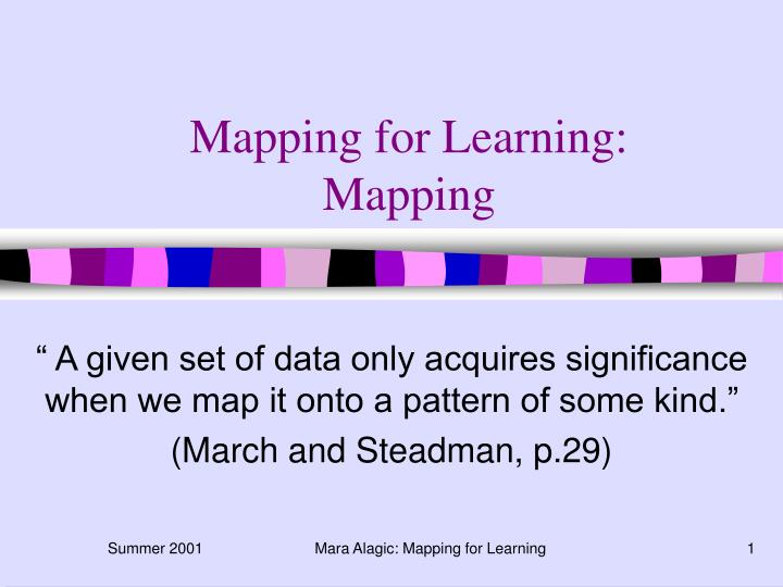 Mapping for learning mapping
