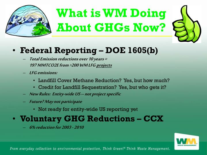 What is WM Doing About GHGs Now?
