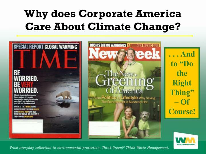 Why does Corporate America Care About Climate Change?