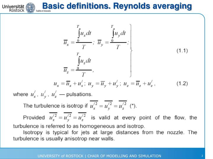 Basic definitions reynolds averaging