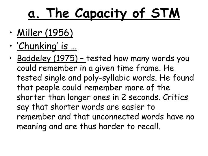 a the capacity of stm n.