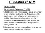 b duration of stm