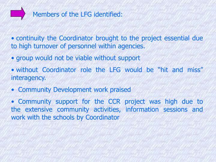 Members of the LFG identified: