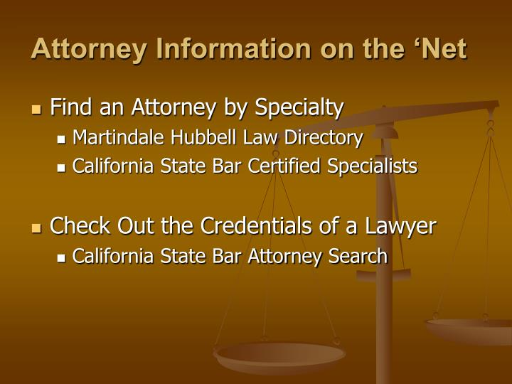 Attorney Information on the 'Net