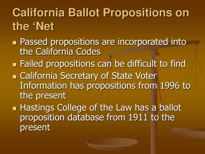 California Ballot Propositions on the 'Net