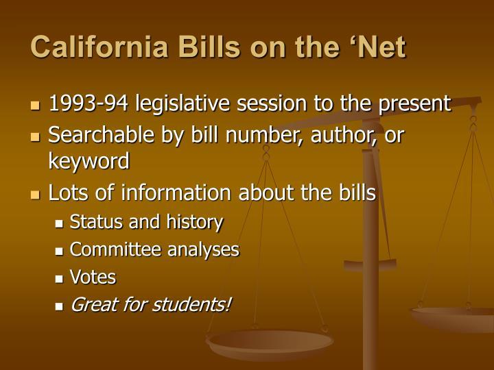 California Bills on the 'Net