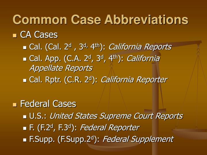 Common Case Abbreviations