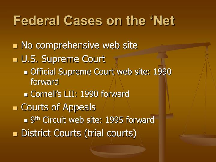 Federal Cases on the 'Net