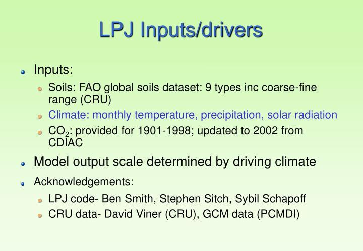 LPJ Inputs/drivers
