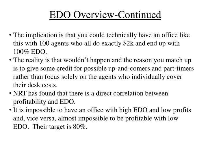EDO Overview-Continued