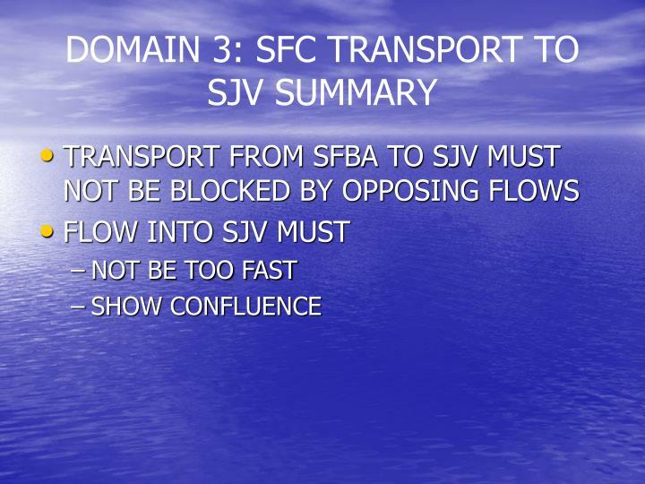 DOMAIN 3: SFC TRANSPORT TO SJV SUMMARY