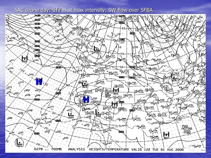 SAC ozone day: SJV-H at max intensity; SW flow over SFBA