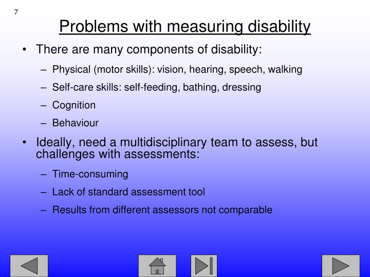 There are many components of disability: