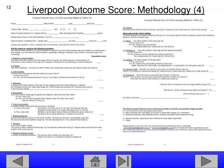 Liverpool Outcome Score: Methodology (4)