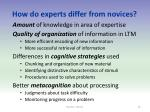 how do experts differ from novices