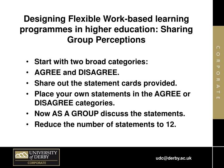 Designing Flexible Work-based learning programmes in higher education