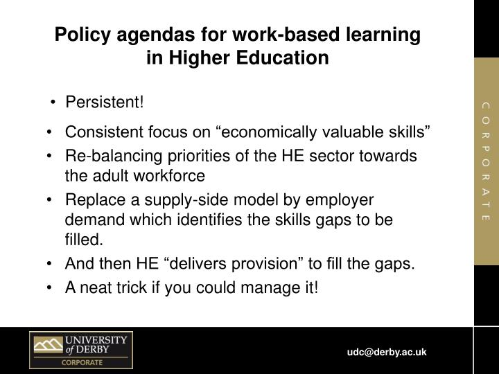 Policy agendas for work-based learning