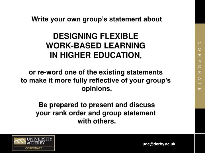 Write your own group's statement about
