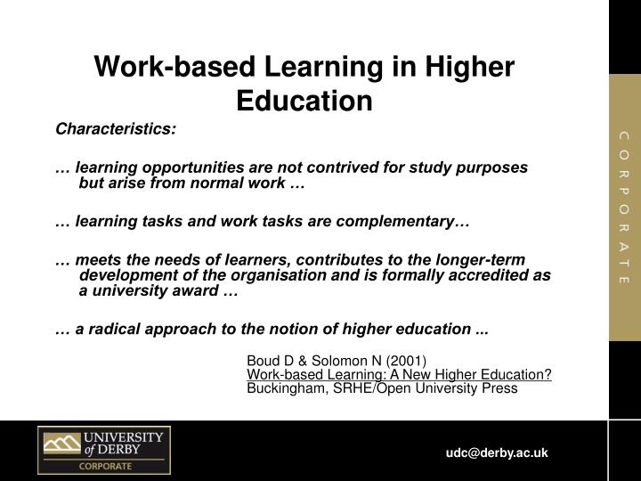 Work-based Learning in Higher Education