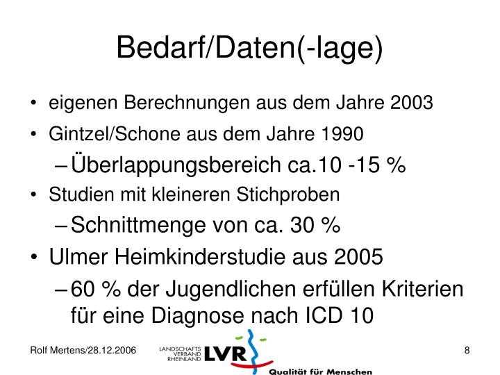 Bedarf/Daten(-lage)