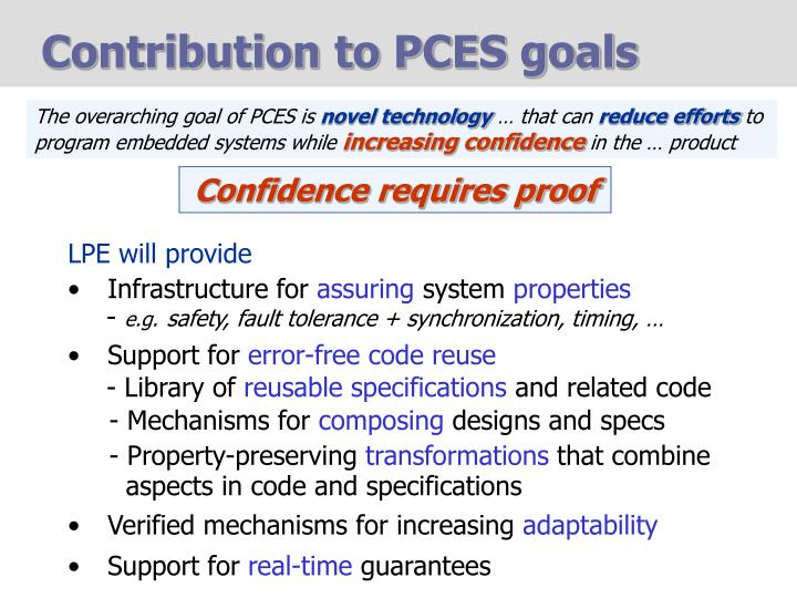 Contribution to PCES goals