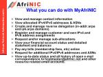 what you can do with myafrinic