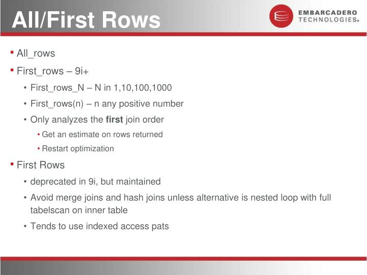 All/First Rows
