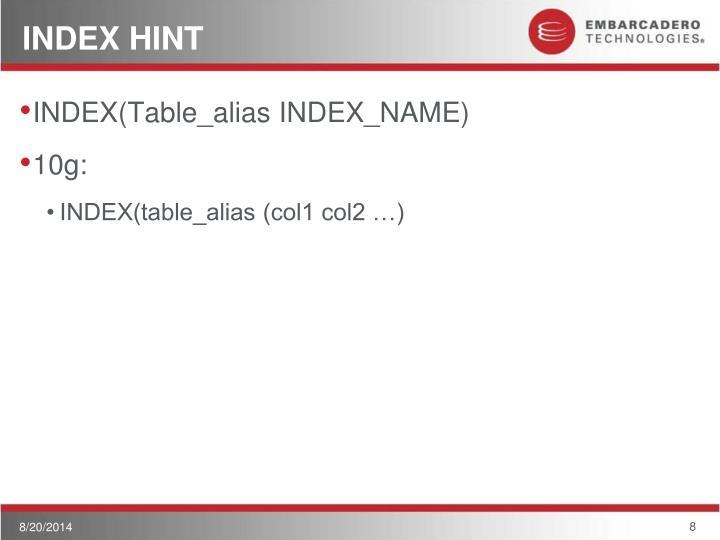 INDEX HINT