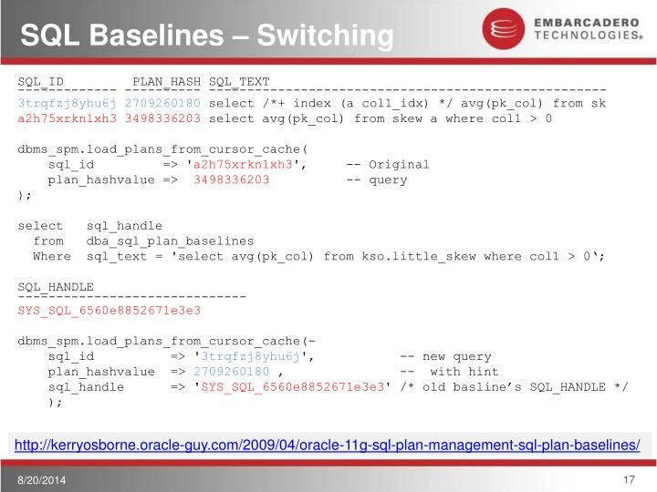 SQL Baselines – Switching