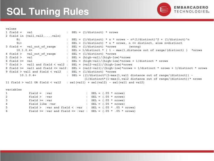 SQL Tuning Rules