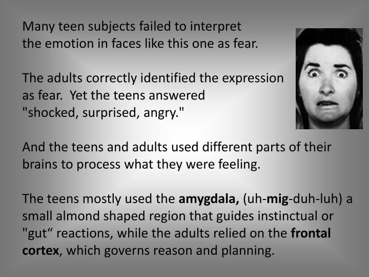 Many teen subjects failed to interpret